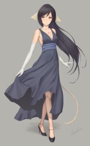 Rating: Safe Score: 46 Tags: animal_ears autographed cleavage dress heels kuon_(utawarerumono) miura_naoko no_bra skirt_lift tail utawarerumono utawarerumono_itsuwari_no_kamen User: charunetra