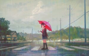 Rating: Safe Score: 37 Tags: feel_(nasitaki) headphones landscape seifuku signed sweater umbrella User: RyuZU