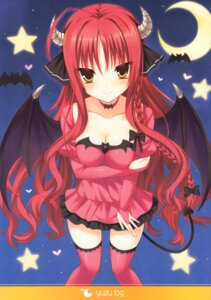 Rating: Questionable Score: 53 Tags: any breast_hold cleavage devil dracu-riot! dress horns tail thighhighs trueblue wings yarai_miu User: fireattack