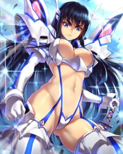 Rating: Questionable Score: 73 Tags: cameltoe cleavage junketsu kill_la_kill kiryuuin_satsuki stockings suika01 sword thighhighs User: VorpalNeko