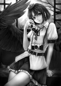 Rating: Safe Score: 22 Tags: monochrome nishi_masakazu shameimaru_aya touhou wings User: charunetra