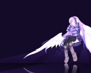 Rating: Safe Score: 15 Tags: headphones shiratama_dango thighhighs wings User: charunetra