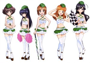 Rating: Questionable Score: 26 Tags: akiyama_yukari cheerleader cleavage girls_und_panzer heels isuzu_hana nishizumi_miho reizei_mako takebe_saori thighhighs umbrella User: drop