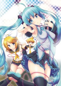 Rating: Safe Score: 33 Tags: bondage hatsune_miku headphones kagamine_len kagamine_rin pantsu shimapan thighhighs vocaloid yuzuki_kei User: Humanpinka