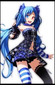 Rating: Safe Score: 39 Tags: hatsune_miku heterochromia thighhighs tsukishiro_saika vocaloid User: charunetra