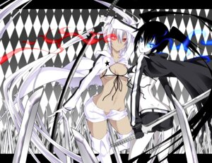 Rating: Safe Score: 29 Tags: bikini_top black_rock_shooter black_rock_shooter_(character) daive sword thighhighs vocaloid white_rock_shooter User: Radioactive