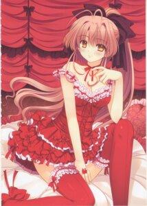 Rating: Questionable Score: 7 Tags: cleavage dress navel nishimata_aoi thighhighs tsuki_ni_yorisou_otome_no_sahou yanagase_minato User: netteens
