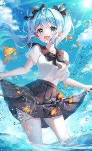 Rating: Safe Score: 32 Tags: hatsune_miku hyeya seifuku skirt_lift vocaloid wet User: Mr_GT