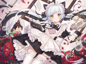 Rating: Questionable Score: 67 Tags: animal_ears chibi cup_(13636466299) maid megane nekomimi skirt_lift stockings tail thighhighs waitress User: sym455