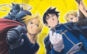 Rating: Safe Score: 10 Tags: alphonse_elric edward_elric fullmetal_alchemist riza_hawkeye roy_mustang scanning_artifacts scanning_dust User: Midori912