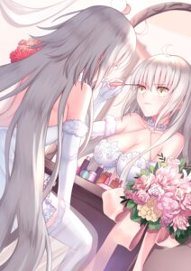 Rating: Safe Score: 36 Tags: cleavage dress fate/grand_order gogatsu_fukuin jeanne_d'arc jeanne_d'arc_(alter)_(fate) see_through thighhighs wedding_dress User: Nepcoheart