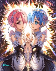 Rating: Safe Score: 19 Tags: cleavage doyoom maid ram_(re_zero) re_zero_kara_hajimeru_isekai_seikatsu rem_(re_zero) signed symmetrical_docking User: charunetra