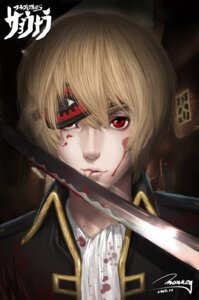 Rating: Safe Score: 10 Tags: blood gintama male monkey_buonarroti okita_sougo signed sword User: sylver650