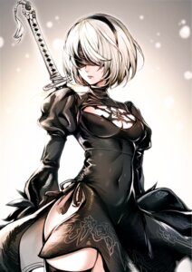 Rating: Safe Score: 84 Tags: cleavage cut_(bu-kunn) dress nier_automata pantsu sword thighhighs yorha_no.2_type_b User: mash