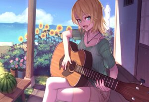 Rating: Safe Score: 23 Tags: cleavage guitar summer_lesson thighhighs yellowpaint. User: Mr_GT