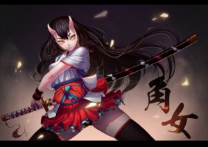Rating: Safe Score: 28 Tags: horns japanese_clothes pantsu qianbi sword thighhighs User: Mr_GT