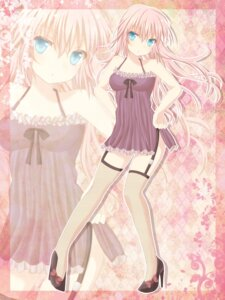 Rating: Safe Score: 28 Tags: fishnets megurine_luka stockings sugisono_hinano thighhighs vocaloid User: hobbito