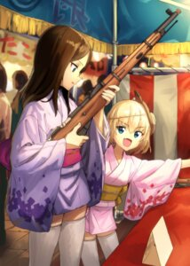 Rating: Safe Score: 39 Tags: girls_und_panzer gun katyusha kawakami_rokkaku nonna thighhighs yukata User: Mr_GT