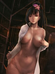 Rating: Questionable Score: 116 Tags: 21yc areola ayame_(kabaneri) bottomless breast_hold breasts erect_nipples koutetsujou_no_kabaneri no_bra open_shirt pubic_hair undressing User: mash