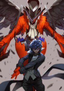 Rating: Safe Score: 13 Tags: arsene_(persona_5) business_suit jojaow kurusu_akira male persona_5 wings User: charunetra
