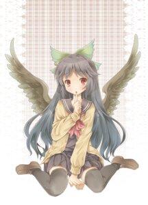 Rating: Safe Score: 13 Tags: michii_yuuki reiuji_utsuho seifuku thighhighs touhou wings User: Radioactive