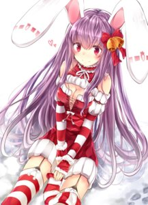 Rating: Safe Score: 47 Tags: animal_ears bunny_ears christmas cleavage dress reisen_udongein_inaba stockings thighhighs touhou xe-cox User: Mr_GT