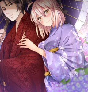 Rating: Safe Score: 10 Tags: drifters fate/grand_order hijikata_toshizou_(drifters) kimono mia_(gute-nacht-07) sakura_saber umbrella User: Mr_GT