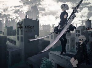 Rating: Safe Score: 47 Tags: dress heels nier_automata saito_(artist) sword thighhighs yorha_no.2_type_b yorha_no._9_type_s User: Mr_GT