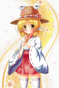 Rating: Safe Score: 18 Tags: miko moriya_suwako shin_osada thighhighs touhou User: 椎名深夏