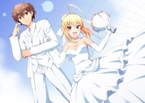 Rating: Safe Score: 24 Tags: cleavage dress fate/extra fate/stay_night kishinami_hakuno male_protagonist_(fate/extra) ookami_maito saber_extra wedding_dress User: charunetra