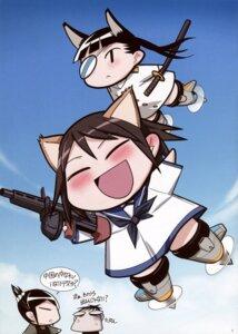 Rating: Safe Score: 5 Tags: animal_ears chibi eyepatch gun inumimi miyafuji_yoshika nekomimi sakamoto_mio seifuku strike_witches sword User: Iketani_RC