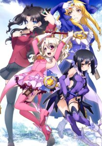 Rating: Safe Score: 32 Tags: fate/kaleid_liner_prisma_illya fate/stay_night garter heels illyasviel_von_einzbern luviagelita_edelfelt miyu_edelfelt thighhighs toosaka_rin weapon User: drop