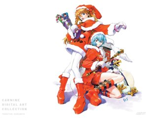 Rating: Safe Score: 16 Tags: ayanami_rei christmas neon_genesis_evangelion sadamoto_yoshiyuki souryuu_asuka_langley wallpaper User: Radioactive