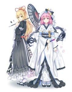 Rating: Safe Score: 22 Tags: japanese_clothes kimono saigyouji_yuyuko touhou umbrella vh(yuv-achi) yakumo_yukari User: Mr_GT