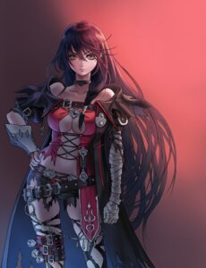 Rating: Questionable Score: 32 Tags: armor bandages cleavage komusubi no_bra tales_of tales_of_berseria thighhighs torn_clothes velvet_crowe User: mash