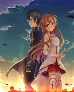 Rating: Safe Score: 25 Tags: asuna_(sword_art_online) kirito sword_art_online tagme thighhighs User: 椎名深夏