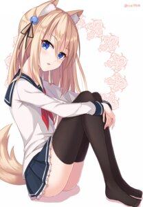 Rating: Questionable Score: 102 Tags: animal_ears nikkunemu seifuku tail thighhighs User: KazukiNanako