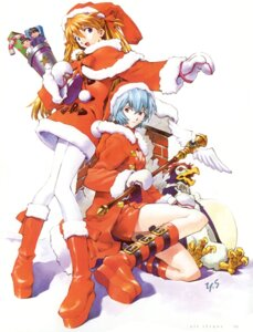Rating: Safe Score: 16 Tags: ayanami_rei christmas neon_genesis_evangelion pen_pen sadamoto_yoshiyuki souryuu_asuka_langley User: Radioactive