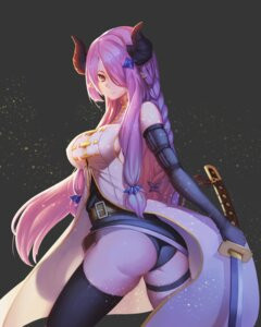 Rating: Questionable Score: 89 Tags: ass gallant99770 granblue_fantasy horns narumeia_(granblue_fantasy) no_bra pantsu pointy_ears sword thighhighs User: Mr_GT