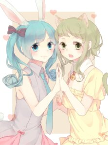 Rating: Safe Score: 10 Tags: animal_ears bunny_ears dress gumi hatsune_miku hina_(kirakira) nekomimi summer_dress tail vocaloid User: Radioactive