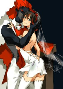 Rating: Safe Score: 11 Tags: dress kill_la_kill matoi_ryuuko mi_lu-zi senketsu thighhighs wedding_dress User: vkun