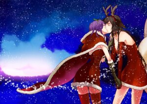 Rating: Questionable Score: 14 Tags: ahri animal_ears christmas league_of_legends leblanc lezinz tail thighhighs yuri User: fairyren