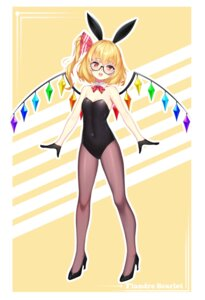 Rating: Questionable Score: 16 Tags: animal_ears bunny_ears bunny_girl cleavage flandre_scarlet heels megane pantyhose touhou wings wu_yao_jun User: Dreista
