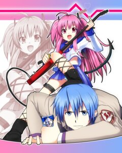 Rating: Questionable Score: 20 Tags: angel_beats! garter guitar hinata_(angel_beats!) masamuu pantsu seifuku shimapan tail yui_(angel_beats!) User: Riven