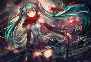 Rating: Safe Score: 129 Tags: hatsune_miku lm7 thighhighs vocaloid User: aihost