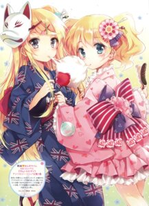 Rating: Questionable Score: 61 Tags: alice_cartelet kin'iro_mosaic kujou_karen lolita_fashion mottsun wa_lolita yukata User: Twinsenzw