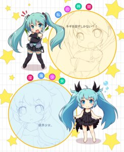 Rating: Safe Score: 20 Tags: chibi dress hatsune_miku thighhighs vocaloid yamasan User: Nekotsúh