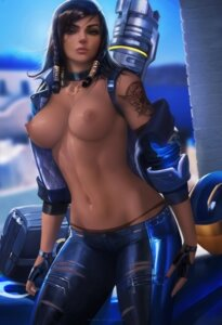 Rating: Questionable Score: 130 Tags: breasts nipples no_bra open_shirt overwatch pantsu pharah sakimichan tattoo User: charunetra