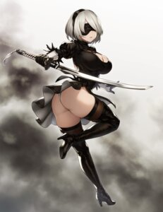 Rating: Questionable Score: 47 Tags: ass cleavage dress heels houtengeki nier_automata pantsu skirt_lift sword thighhighs thong yorha_no.2_type_b User: Mr_GT