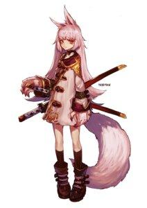 Rating: Safe Score: 13 Tags: animal_ears dress sword tail toberan User: charunetra